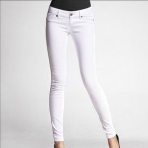 Express Zelda white low rise skinny jeans 4R